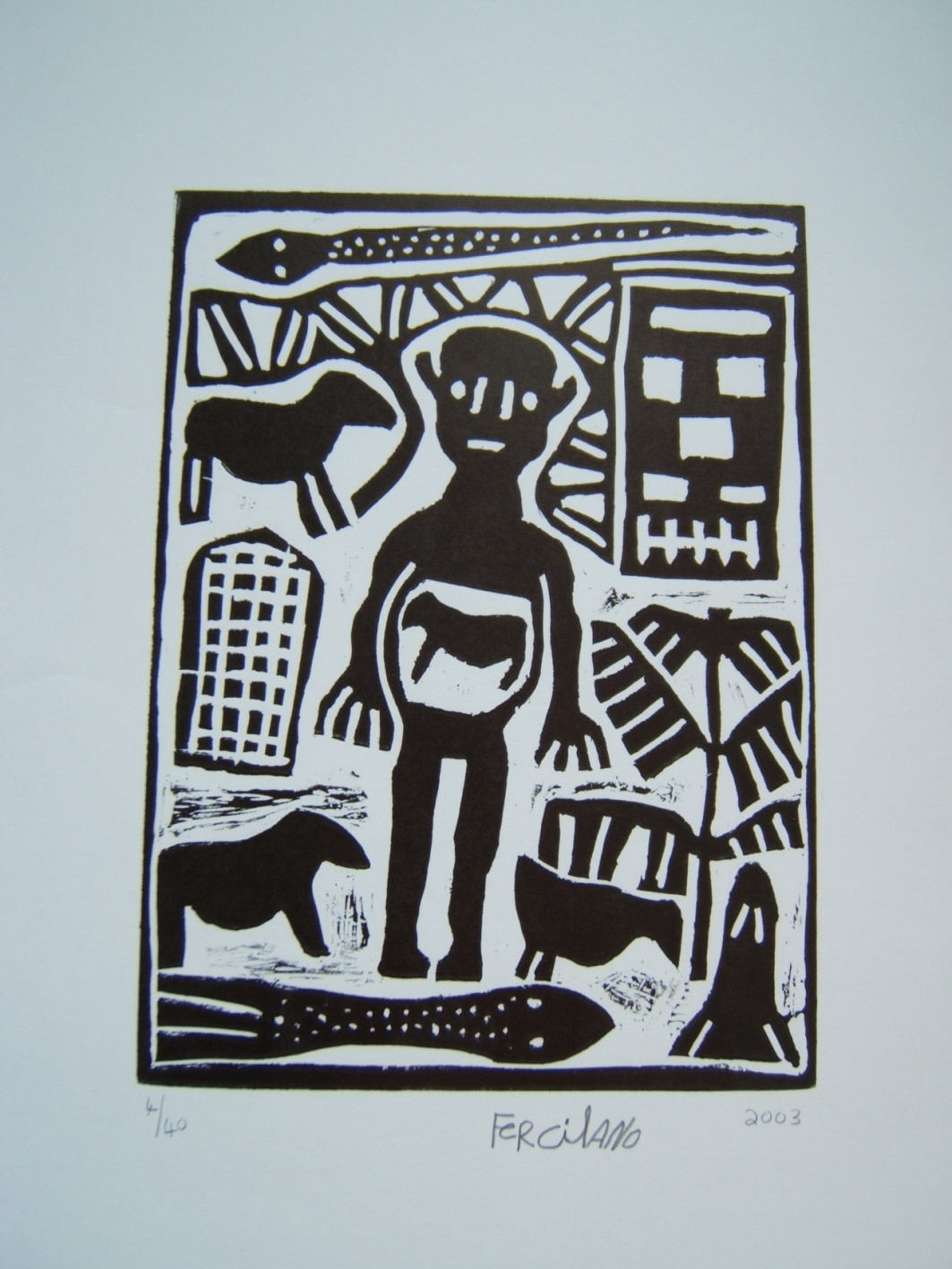 contemporary african art, lino cut, black and white, San art, South Africa, Freciano