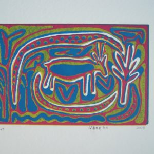 Contemporary African art, lino cut, colour, Madena, San art, South Africa