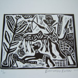 contemporary, African art, signed, lino cut, monochrome, limited edition