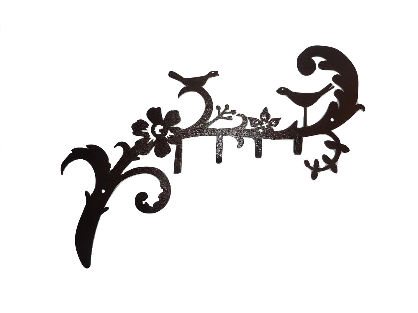 Image of a coat hook featuring two birds on a leafy branch