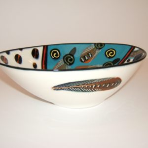 ceramic, contemporary, oval shaped, bowl, south africa, cape town, Theo Ntuntwana, signed, dated