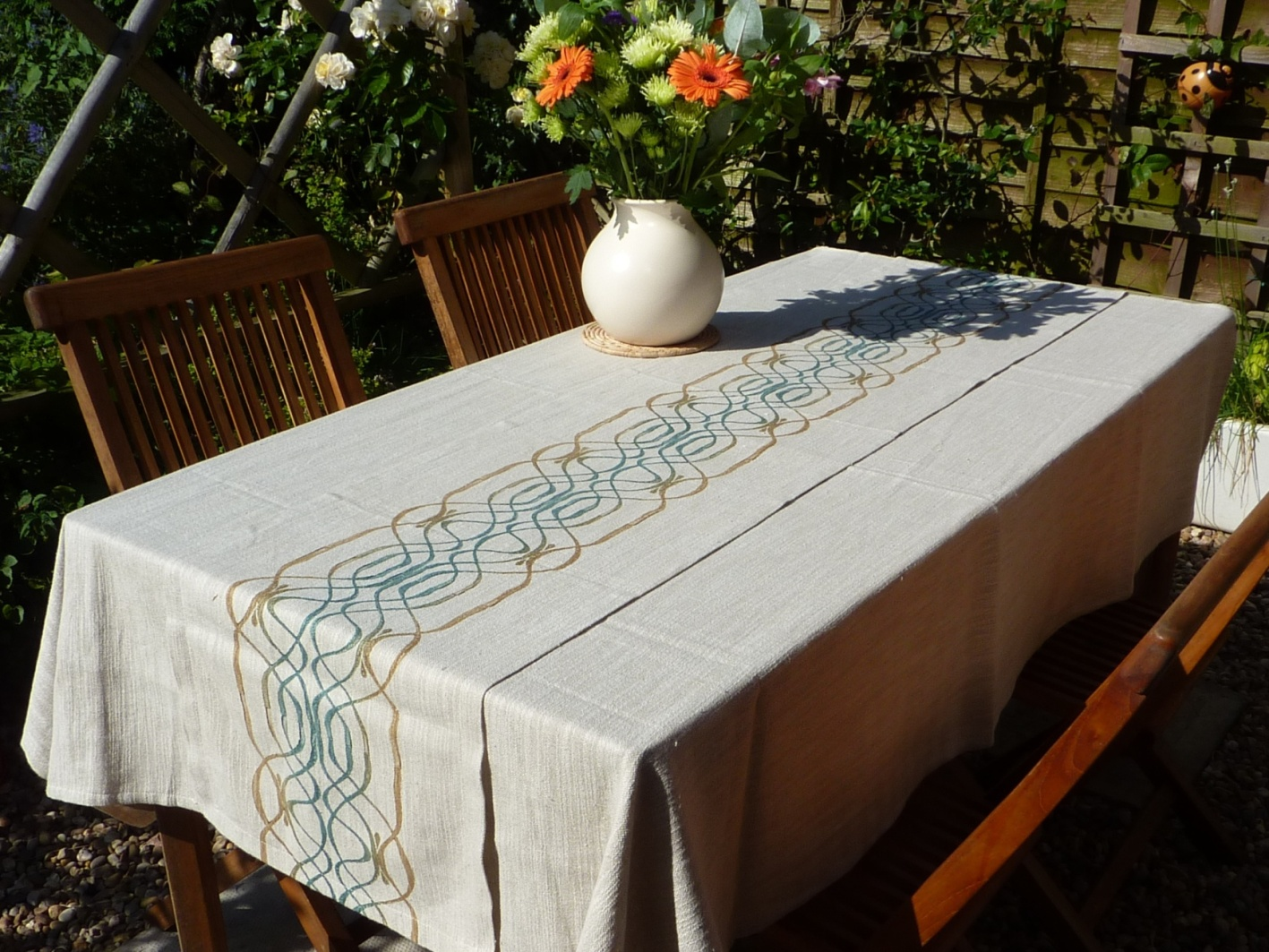 table runner, namibia, african, cotton, linen, hand woven, hand painted, natural dyes