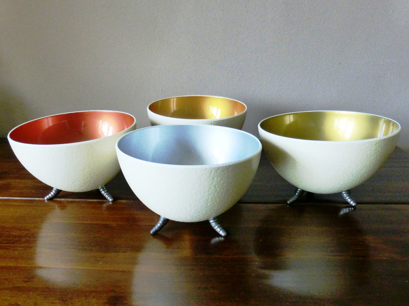 Image of Ostrich Egg Bowls, with coloured interiors.