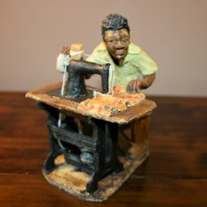 African, ceramic, sculpture, art, hand made, Malawi, Tailor, sewing machine