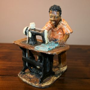 African, sculpture, ceramic, hand made, Malawi, Tailor, sewing, sewing machine