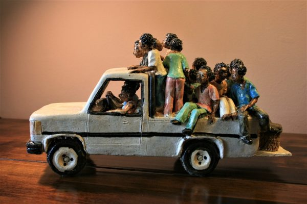 African sculpture, ceramic, hand made, Malawi, overloaded, truck