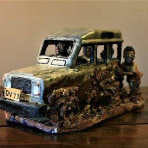 4x4, truck, stuuck in the mud, ceramic, sculpture, Malawi, hand made