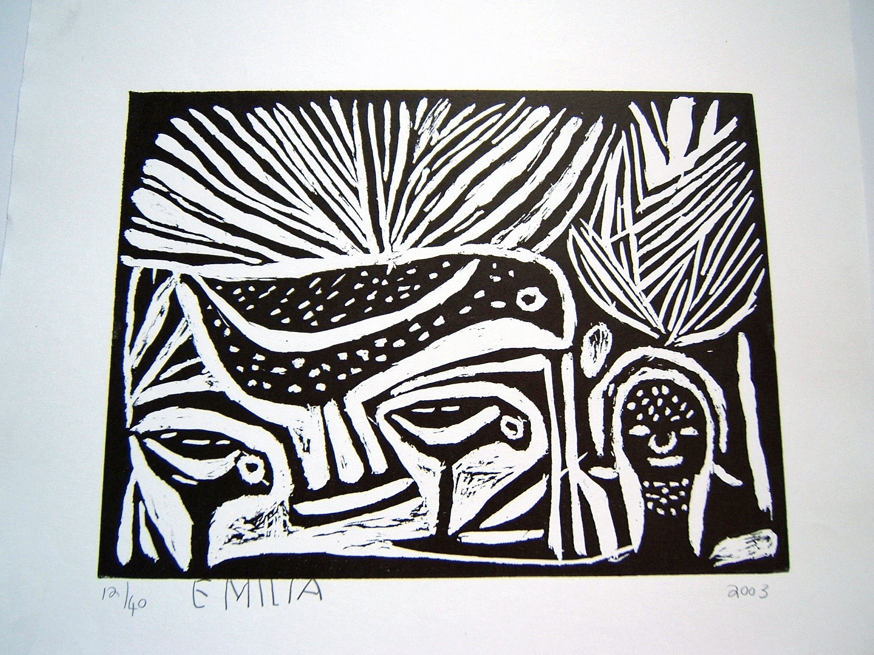 contemporary African art, lino cut, monochrome, signed, limited edition, bird