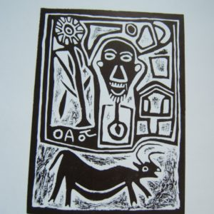 contemporary African art, San art, South Africa, black and white, lino cut, Joao