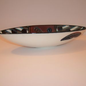 red, ceramic, boat bowl, hand painted, cape town, South Africa, signed by artist