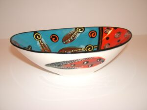 oval shaped, decorative bowl, African, hand painted, signed, dated, Theo Ntuntwana