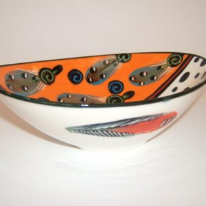 contemporary, ceramic, oval shaped decorative bowl, Cape Town, Theo Ntuntwana, hand painted, signed, dated