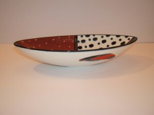 Contemporary, boat bowl, ceramic, glazed, Theo Ntuntwana, Cape Town, turquoise