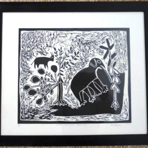Original African art work depicting an Elephant browsing. Signed limited edition linocut