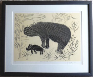 Original African art. A limited edition signed lithograph of a mother Rhino and her baby