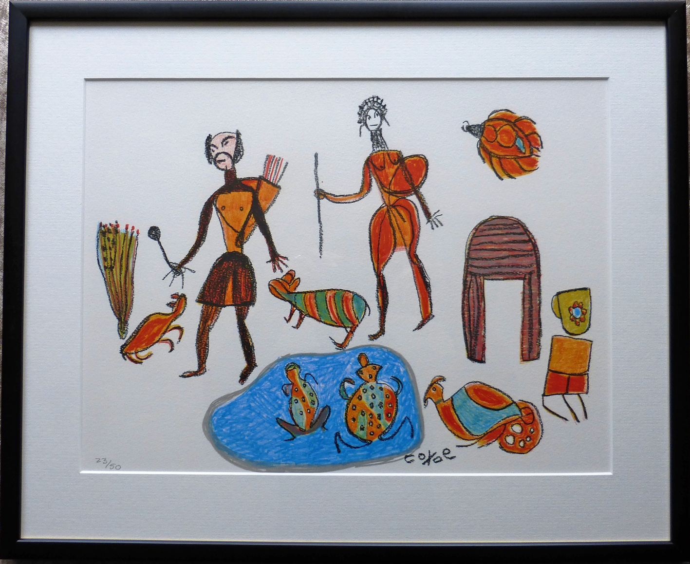 African art. Limited edition colour lithograph of people hunting and gathering